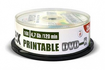 Диск DVD-R Mirex 4.7 Gb, 16x, Cake Box (25), Ink Printable (25/300)