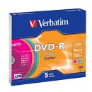Диск DVD-R Verbatim 4.7 Gb, 16x, Slim Case (5), Color (5/100)