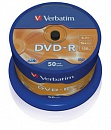 Диск DVD-R Verbatim 4.7 Gb, 16x, Cake Box (50), (50/200)